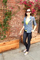 yellow Lululemon top - black wax denim Monkee Jeans jeans - blue Old Navy shirt