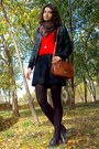Red-sweater-black-shift-thrifted-dress-black-leather-jacket
