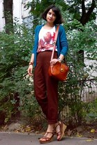 white shirt - carrot orange thrifted purse - teal cardigan
