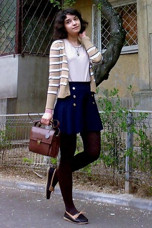 camel striped gifted cardigan - dark brown Zara purse