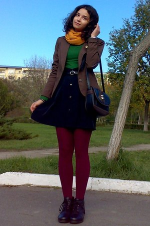 dark green thrifted sweater - brown Vero Moda blazer - maroon tights