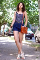 black striped H&M top - tawny thrifted purse - navy thrifted shorts