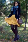 Brown-tights-teal-floral-scarf-dark-brown-satchel-zara-purse