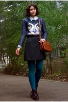 black leather jacket - white Esprit shirt - teal tights
