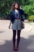dark brown tights and Zara purse - navy MBG blazer - dark khaki thrifted shorts