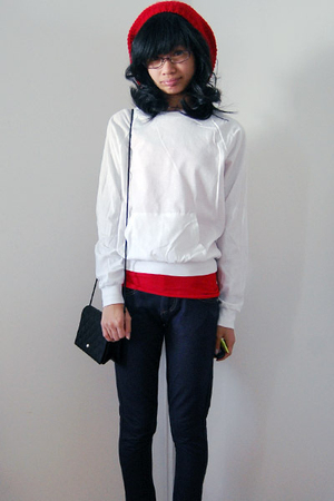 red Forever 21 hat - white long sleeve American Apparel shirt
