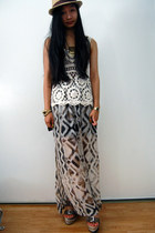 off white crochet top - silver maxi skirt