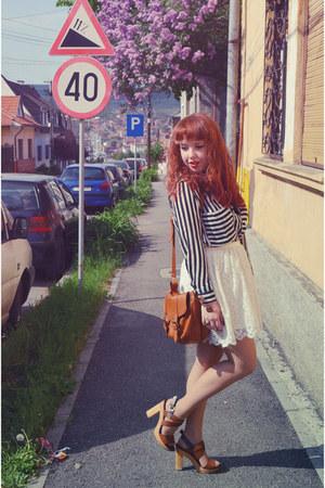 white H&M skirt - black Choies shirt - burnt orange Massimo Dutti purse