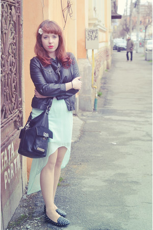 black Zara jacket - black Mango purse - sky blue Zara skirt