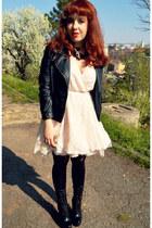 black Guess boots - white AX Paris dress - black Zara jacket