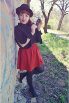 red Zara skirt - black Zara jacket - black Choies shirt - black H&M tights