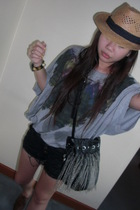 brown bought frm chatucak hat - gray favourite topshop top