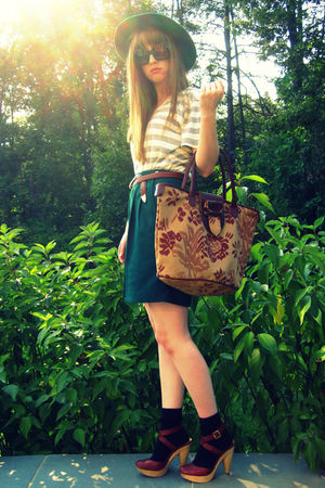 brown seychelles shoes - black Target socks - green Vintage thrift shorts - gree