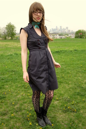 gray Anthropologie dress - black thrifted boots - black Target tights - blue gif