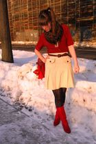 red thrifted shirt - white thrifted vintage skirt - red vintage boots - gold vin