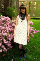white Anthropologie dress - black vintage scarf - black Target stockings - blue