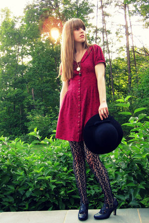 red Urban Outfitters dress - black thrifted hat - black Target stockings - black