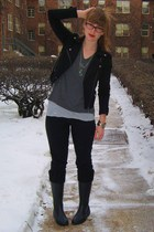 black Urban Outfitters boots - black madewell jeans - black Forever 21 jacket -