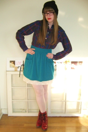 blue American Apparel skirt - white thrifted intimate - red vintage boots - blue