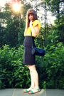 Yellow Vintage Blouses Black Vintage Thrifted Skirts Blue Urban Outfitters Shos