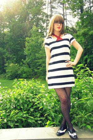 white H&M dress - black Forever 21 shoes - black Target stockings