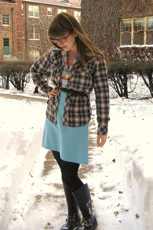 white vintage shirt - gray Bensimon shirt - blue Urban Outfitters boots