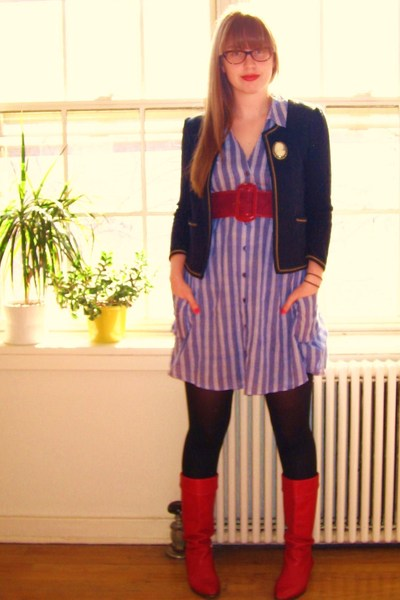 Urban Outfitters blazer - Urban Outfitters dress - thrifted belt - vintage boots