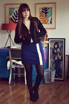 black Steve Madden boots - blue vintage dress - black f21 jacket - black Target