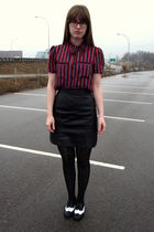 red vintage blouse - black Forever 21 shoes - black Target tights