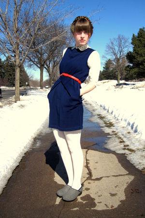 blue Tulle dress - orange thrifted belt - white vintage blouse - white Target ti