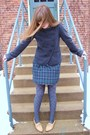 White-kensie-shirt-brown-thrifted-shoes-gray-target-tights-blue-heritage-1