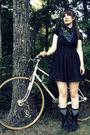 black Forever 21 dress - black Forever 21 socks - black vintage thrifted boots -