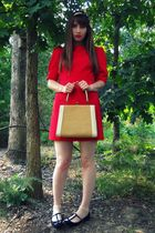 red courtesy of Tulle dress - white vintage purse - white H&M socks - black Urba