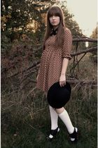 black vintage via estate sale tie - brown Zara dress - white Target socks - blac
