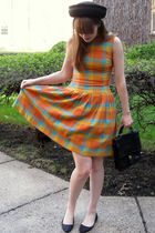 black vintage hat - black Urban Outfitters shoes - orange vintage dress