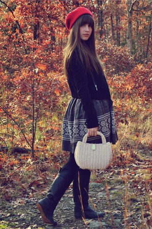 black f21 jacket - off white thrifted purse - black Steve Madden boots - charcoa