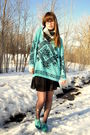 Blue-thrifted-vintage-sweater-black-target-stockings-blue-urban-outfitters-s