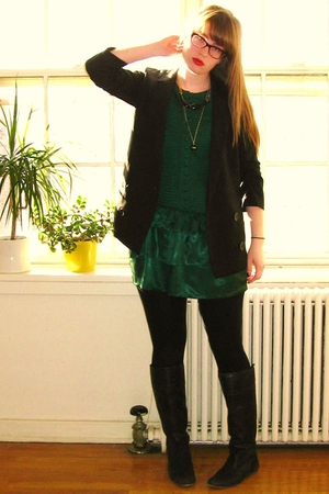 BB Dakota blazer - Ya Los Angeles dress - Steve Madden boots - vintage bakelite