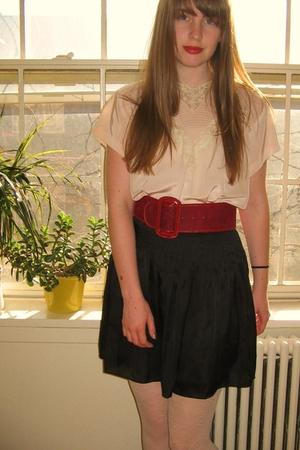 vintage blouse - thrifted belt - vintage boots - Forever 21 skirt - Urban Outfit