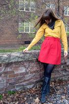 red thrifted vintage skirt - gold vintage shirt - black Steve Madden boots - bla