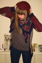 vintage hat - thrifted scarf - Urban Outfitters sweater - madewell jeans - Urban