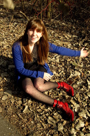 red vintage boots - black Target stockings - black Urban Outfitters dress - blue
