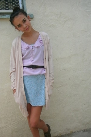 light pink long cardigan - light purple ruffled blouse - sky blue floral skirt
