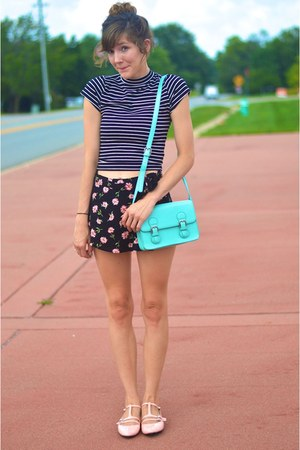 black Forever 21 top - light blue side bag purse - bubble gum skirt