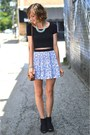 H&M skirt - black ankle boots H&M boots - light blue Forever 21 necklace