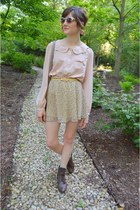 light pink Forever 21 blouse - dark brown Urban Outfitters boots