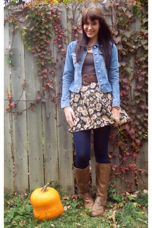 blue Old Navy jacket - brown Target t-shirt - gold skirt - blue Target tights -