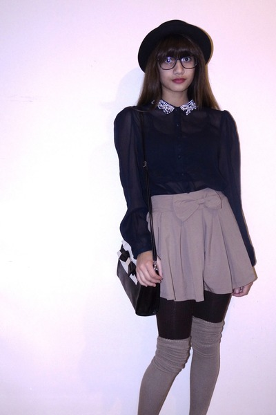 navy shirt - brown Spring shoes - black bowler hat H&amp;M hat
