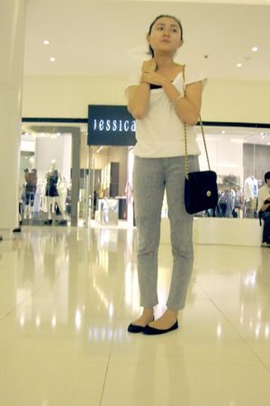 white shirt - gray pants - black thrifted purse - black shoe gallery shoes - sil