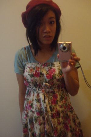 blue Forever 21 shirt - white Forever 21 dress - red Claires hat